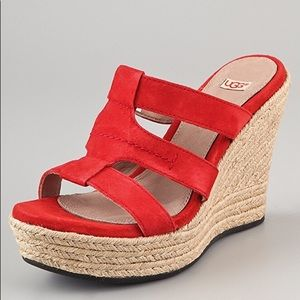 Like New UGG Tawnie Suede Leather Wedge Sandals